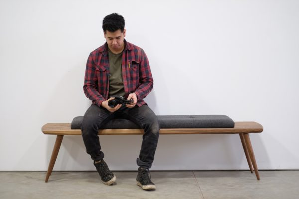 Image of Man sitting on bench from Beauty and Bread Wood Shop Located in Vancouver, WA